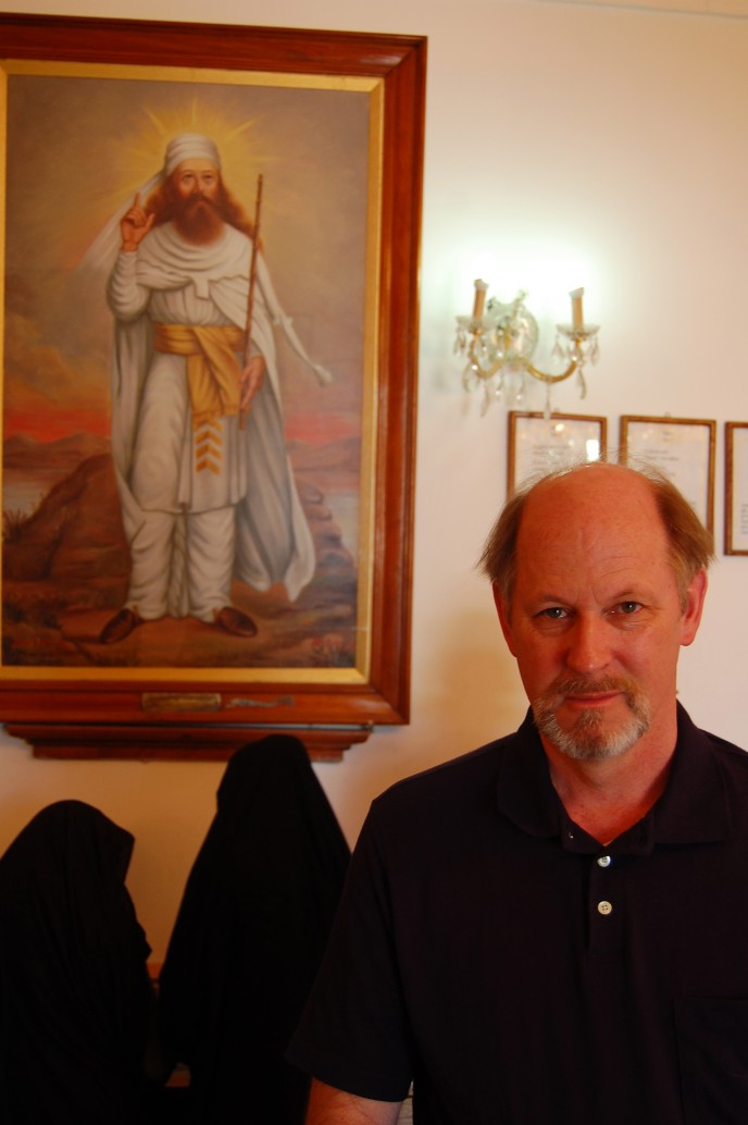 Marshall Vian Summers beside a painting of Zoroaster, in the firetemple of Yazd, Iran, which is both the origin and present-day nexus for the Zoroastrian religion today.