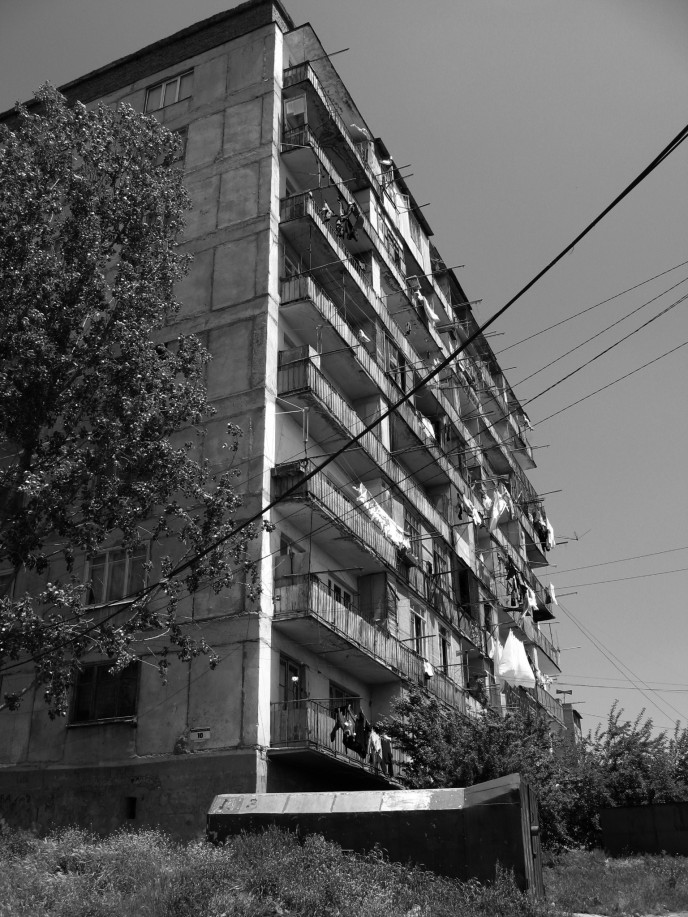 Unimproved and unmaintained. The stamped out apartment blocks of North Tbilisi speak of destitution and frustration.