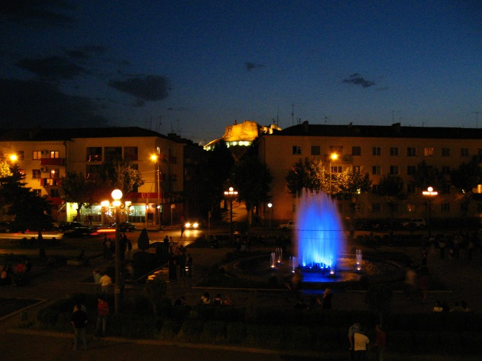The central park of Gori at night. Thronged by locals after work hours, the central park is a major meeting ground for young and old.