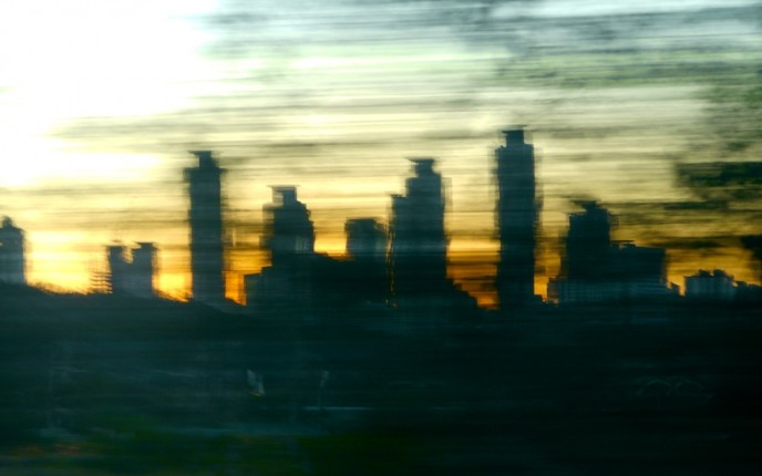 Dusky blur of new cities under construction