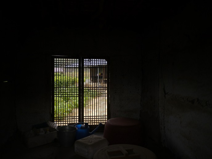 View from within a mud brick store house of a local home